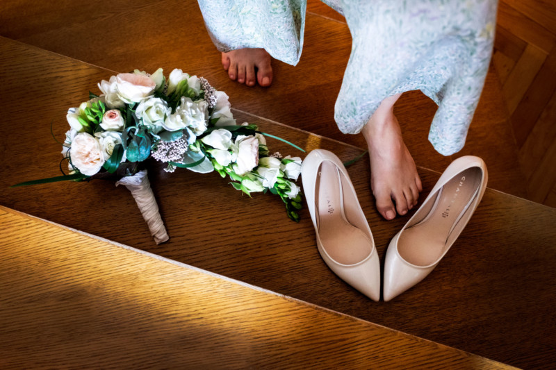 wedding shoes and bouquet