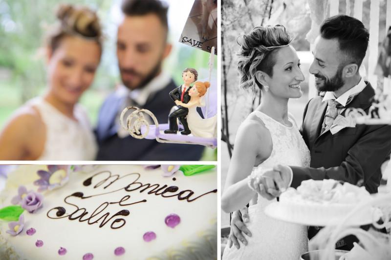 sposi che tagliano la torta