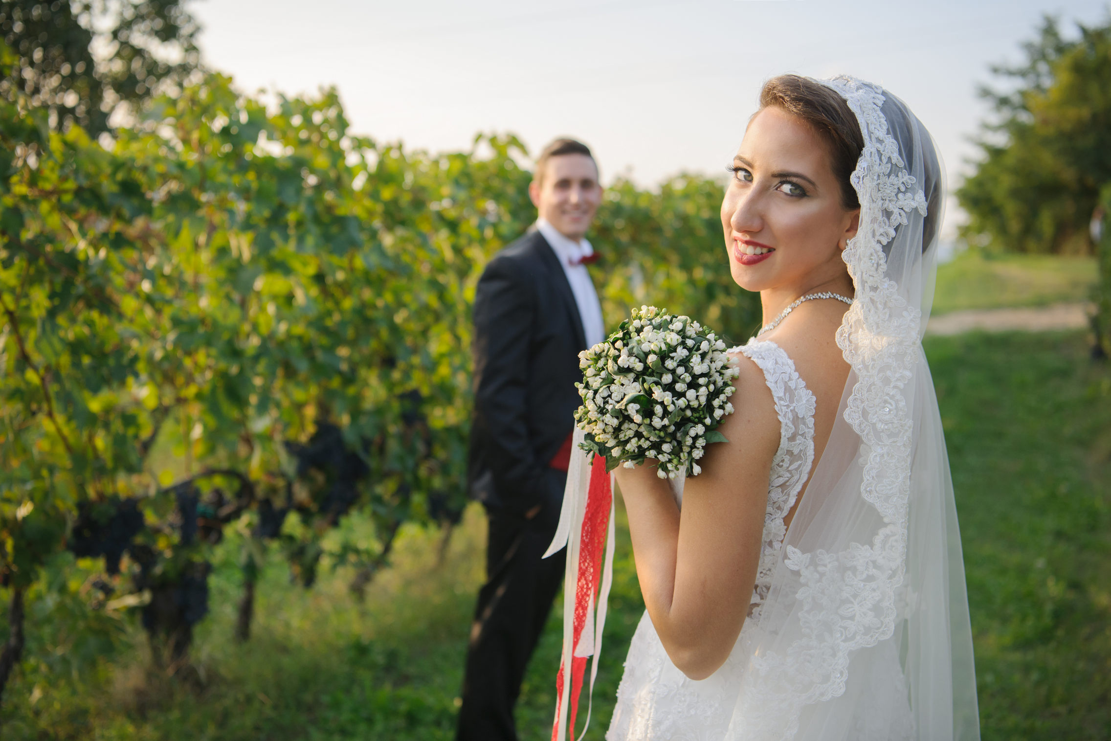 ritratto sposi tra i vigneti - portrait in the vineyard