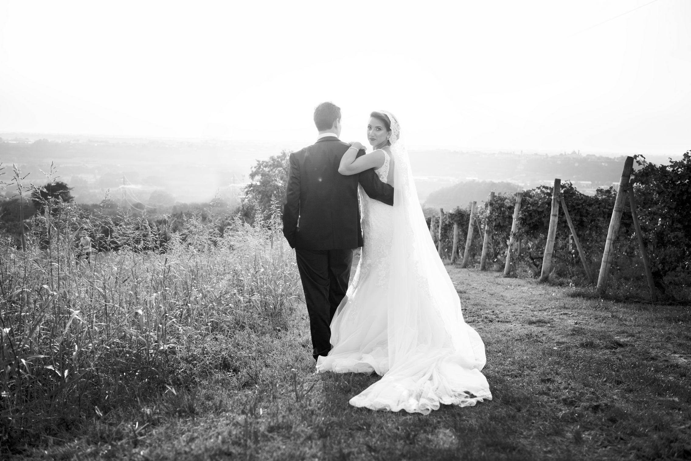 bride and groom in the vineyard - sposi tra i vigneti