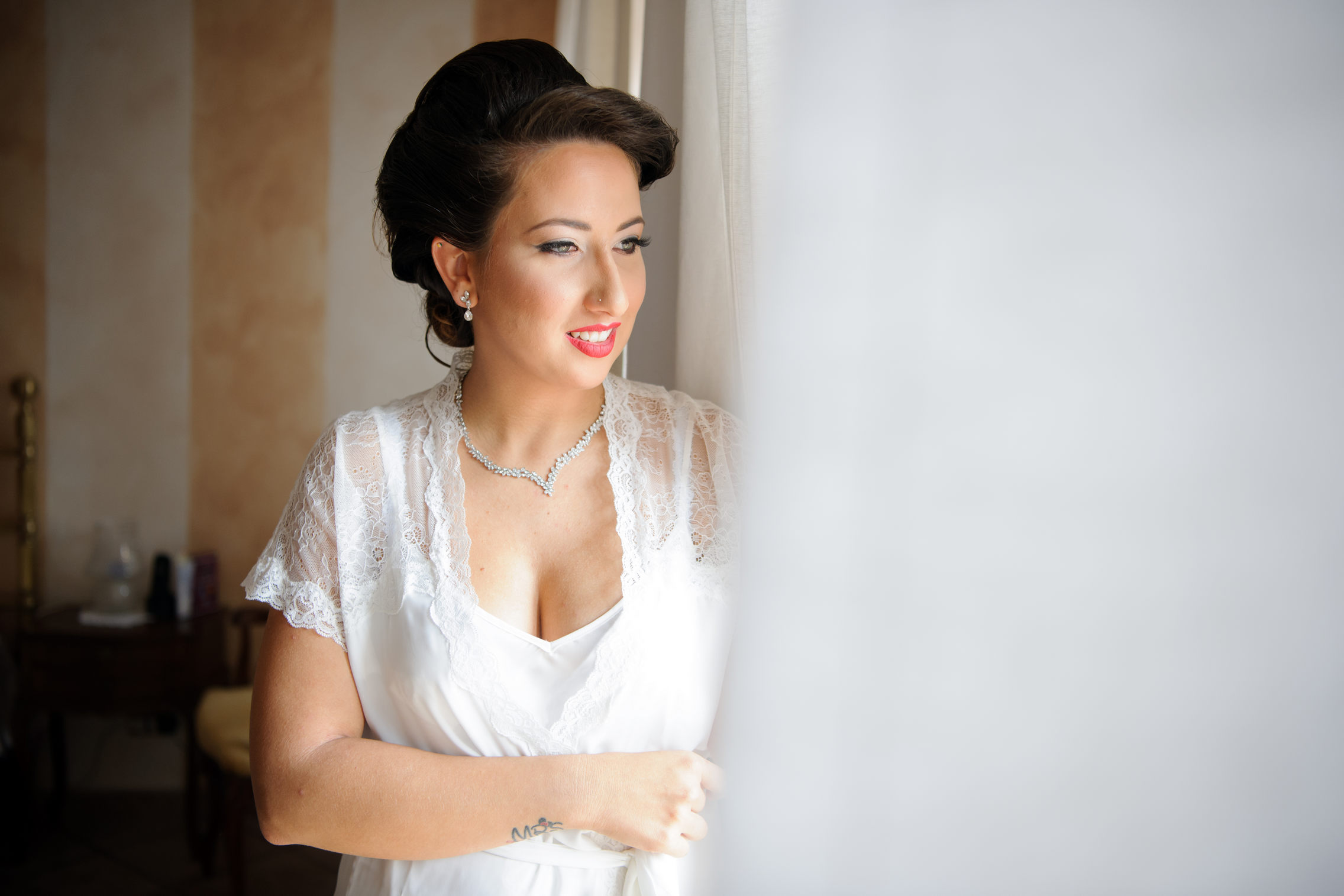 bride portrait near window