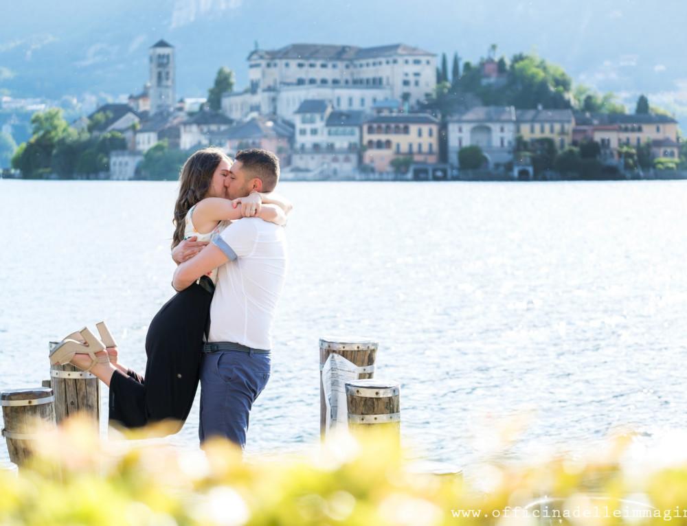 Prenozze lago d'Orta-Engagement in Italy:shooting at Orta lake