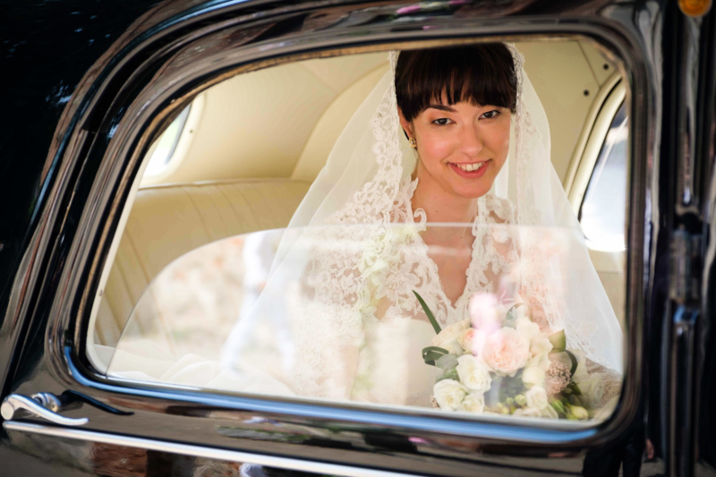 bride portrait in the car